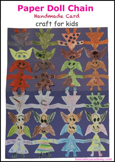 Paper Doll Chain Tutorial. Making a handmade card craft for kids.
