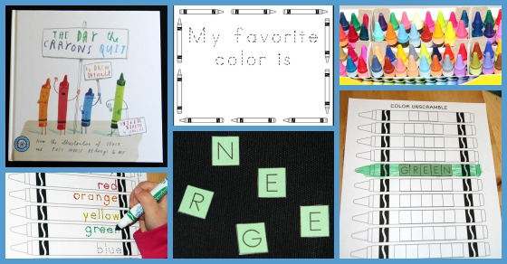 Book Activity to go with The Day The Crayons Quit. 3 page printable coloring activity adjustable to varying levels. Learning to read, write and spell the names of 12 colours.
