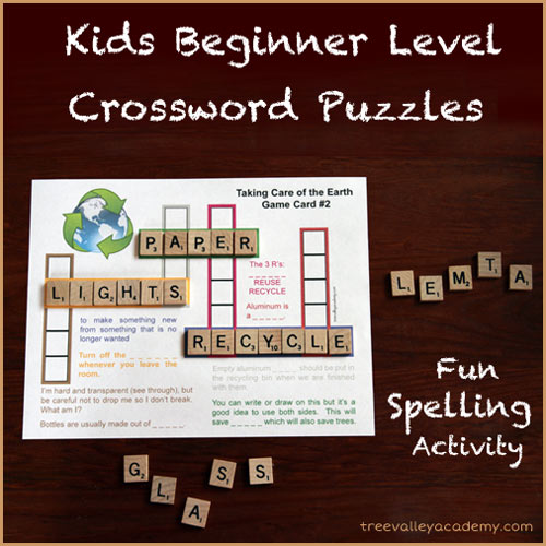 Beginner Level Crossword Puzzles for Kids. A Fun Spelling Activity.