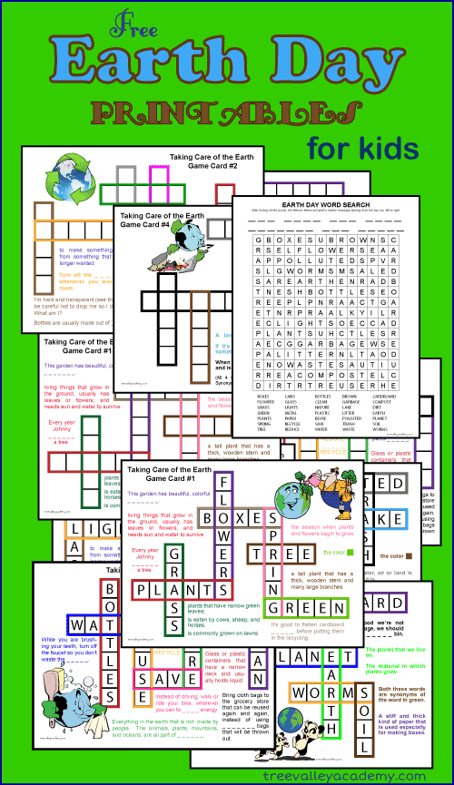 Free Earth Day Printables For Kids. Beginner Crossword Puzzles, Scrabble Game Cards, Word Search, Learning to Spell Fun.