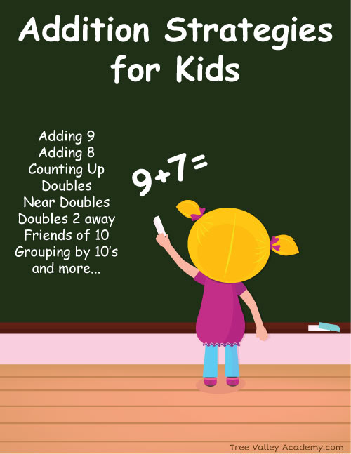 Addition Strategies For Kids: Counting Up, Adding 8, Adding 9, Doubles, Near Doubles, Doubles 2 Away, Grouping by 10's, Number Bonds of 10. Also, which addition strategy would work best worksheets.