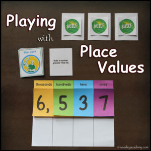 Fun math game to help kids learn about Place Values and Decomposing numbers when adding.