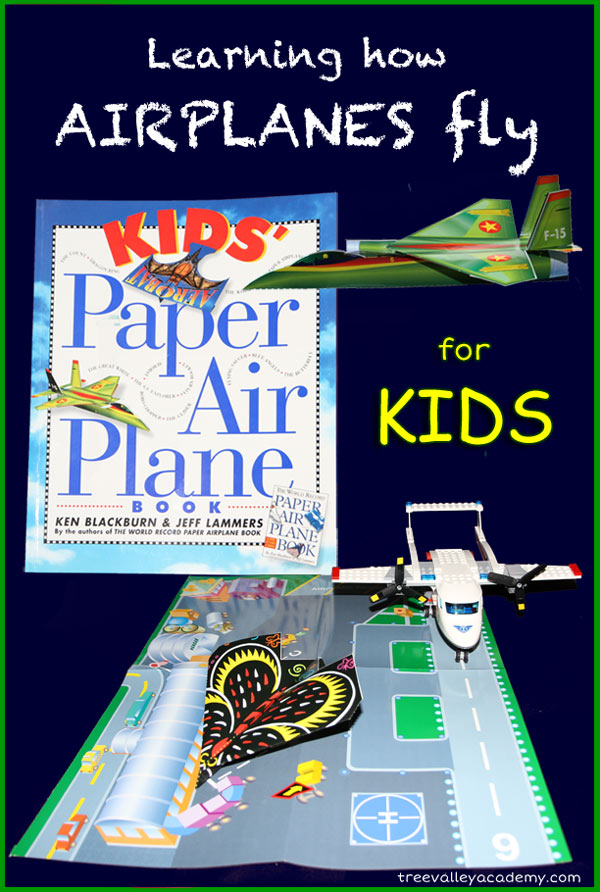 Learning how airplanes fly for kids. Free printables for kids learning the parts of an airplane and the 4 forces of flight. Play based learning with paper airplanes.