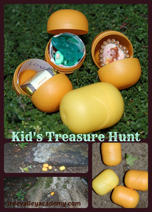 Putting small treasures in Kinder Surprise Egg Containers for a kids pirates treasure hunt.