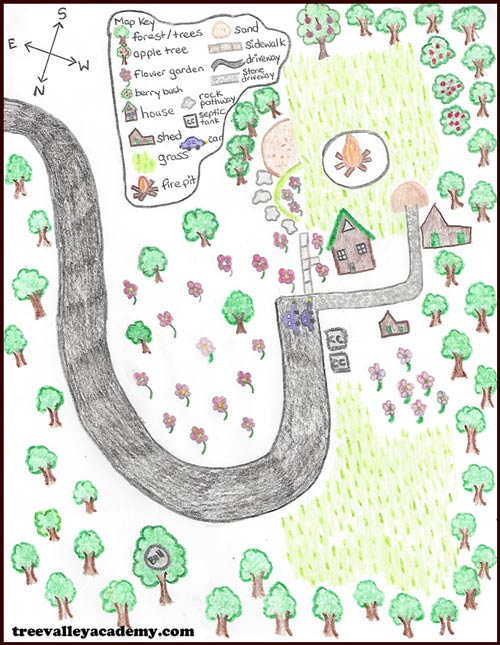 drawing a map of the area for a kids treasure hunt