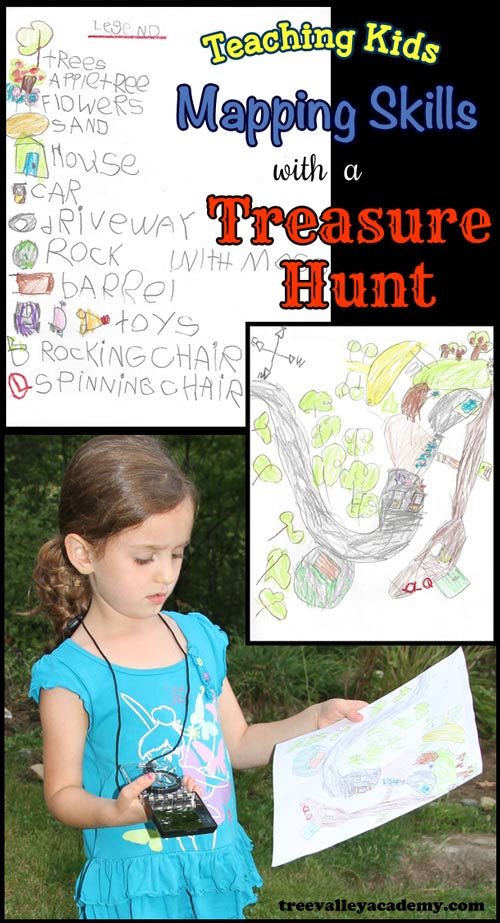 A girl with a compass using a treasure map she drew to find treasure in her backyard.