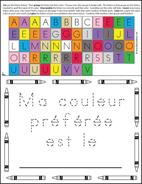 """Free printable for kids to trace """"Ma couleur préférée est le _____."""""""