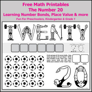 Free Grade 1 math printables. Number bonds of 20; subtracting on a number line; place value; spelling the number twenty; ten frames; odd and even; numbers before and after, and decomposing 20.