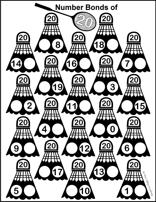 Free Printable Number 20 Math Worksheets For 1st Grade