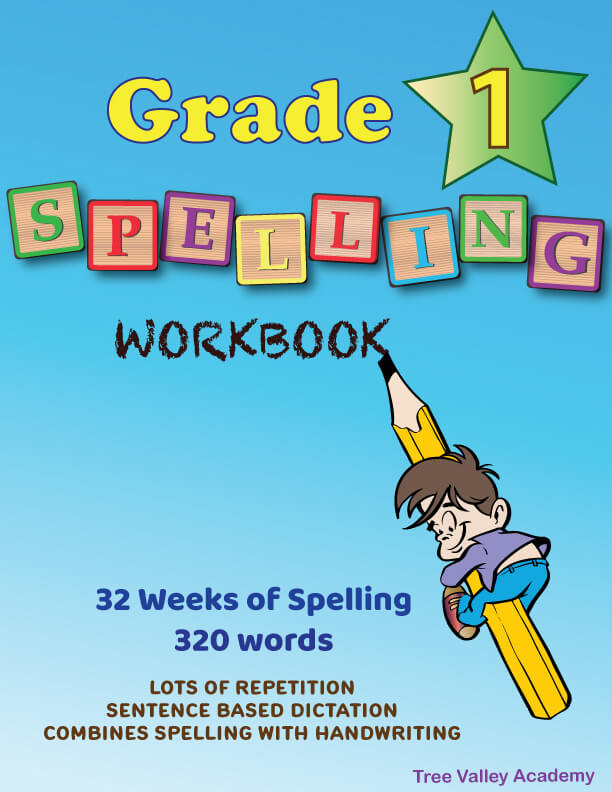 Grade 1 Spelling Workbook - 230 Day Lesson Plan Spelling Curriculum For Homeschool. Combines spelling with learning handwriting with a strong focus on lowercase letters. Sentence based dictation provides lots of repetition of previously learned spelling words. 400+ words, 300+ sentences, 27 blends & digraphs - Easier Learning with Word Families - Downloadable .pdf