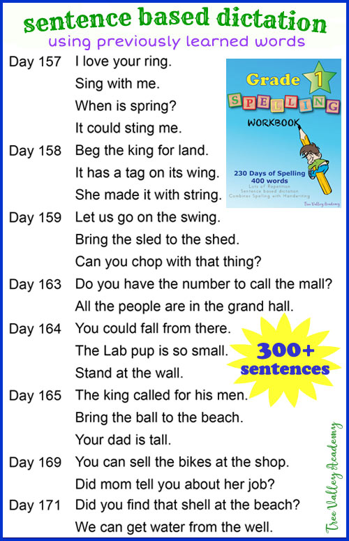 Grade 1 spelling curriculum ideal for homeschoolers. 230 day lesson plan that combines spelling with learning handwriting with a strong focus on lowercase letters. Sentence based dictation provides lots of repetition of previously learned spelling words. 400+ spelling words.