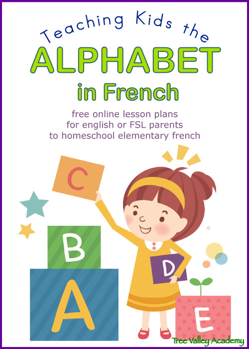 Learning the alphabet in french. Free online lesson plans for english or FSL parents to homeschool elementary french.