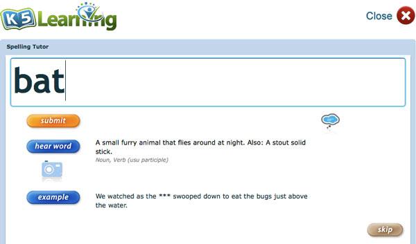 K5 Spelling screenshot