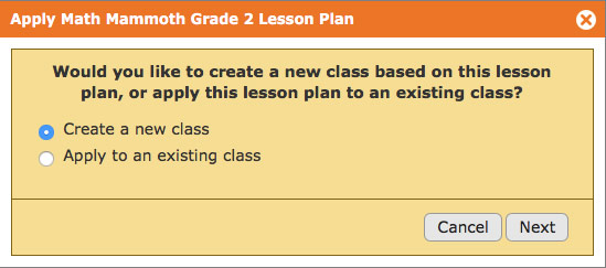 Step 2 when scheduling a year's worth of assignments with a lesson plan on Homeschool Planet. It's done in only a few clicks.
