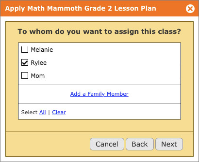 Click 5 when scheduling a year's worth of assignments with a lesson plan on Homeschool Planet is choosing who the class is for. It's done in only a few clicks.