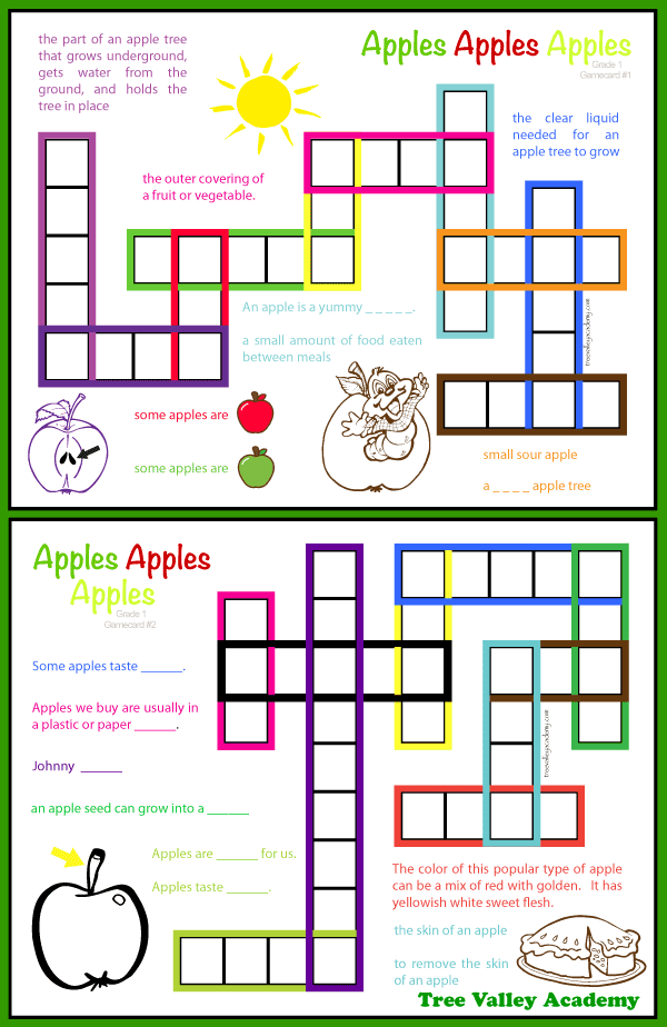 Kid friendly apple themed crossword puzzles for Grade 1 students. 8 free printables for a first grade apple unit that will help the student learn the spellings of 20 apple words. Vocabulary games, crosswords, word search and more.