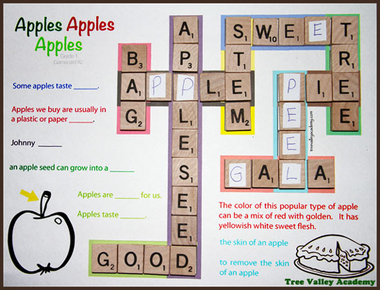 Grade 1 apple themed spelling game inspired by Scrabble Jr. Grade 1 students can practice 20 grade 1 spelling words with kid friendly crossword puzzles, apple word search and spelling games & activities. Great in an apple unit.