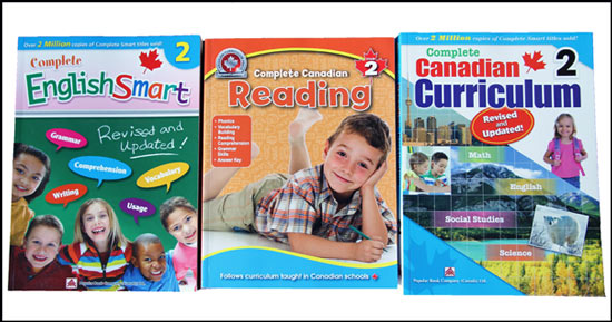 Some of our Grade 2 Curriculum workbooks for english in our homeschool. Subjects include: math, french, english, science, art, music, life skills, gym, and bible study.