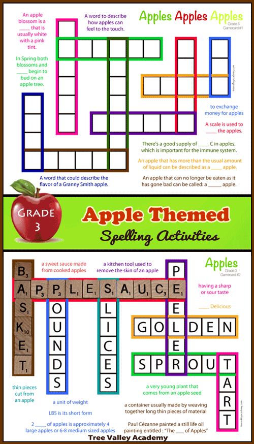 Apple Themed Spelling Activities For Grade 3 Tree Valley