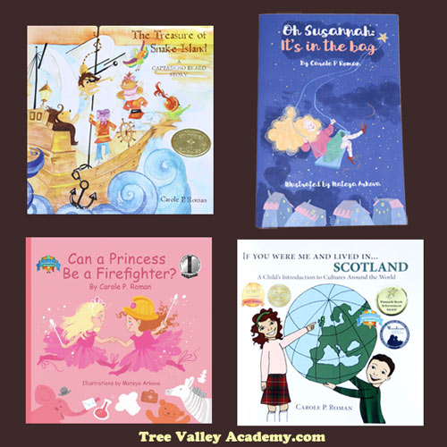 A review of 4 children's books by award winning author Carole P. Roman.