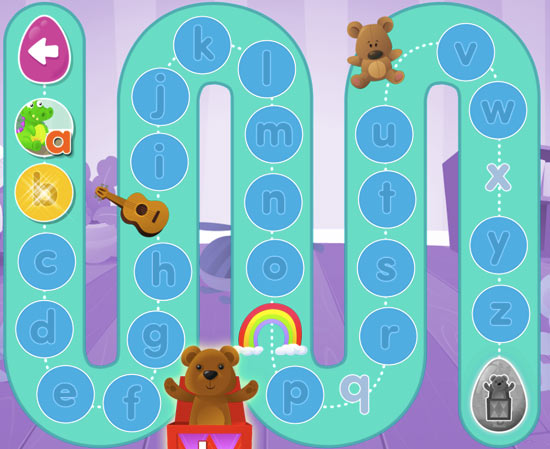 A screenshot of one area in Reading Eggs Junior, an online reading program for 2-4 year olds.