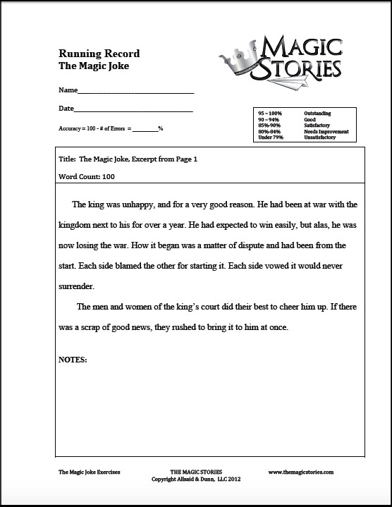 "A review of ""The Magic Stories"". An example of one of the 100 word excerpts for teachers to have a way to score the reading abilities of their students."