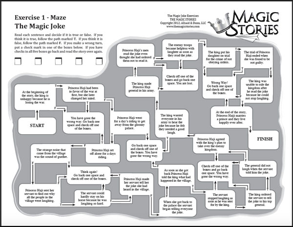 """A maze like exercise for """"The Magic Stories"""", a supplemental reading program for 2nd or 3rd graders."""
