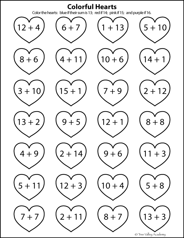 Free printable heart themed math worksheet to practice the number bonds of 13 to 16. A coloring only worksheet. #freeprintables #coloringpages #math #numberbonds #hearts