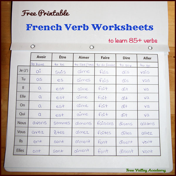 17 pages of free printable french verb worksheets to learn the present tense of 85+ common verbs. 2 blank printables included that can be printed as many times as needed for adding verbs of your choice. Put pages in duo tang and your child can make their own french verb dictionary (bescherelle) for easy reference. #learnfrench #fsl