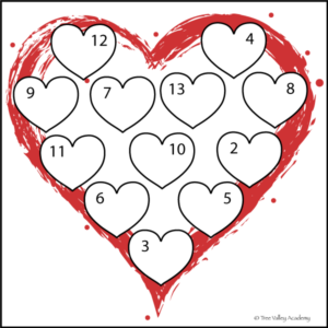 Heart Themed Number Bonds Worksheets