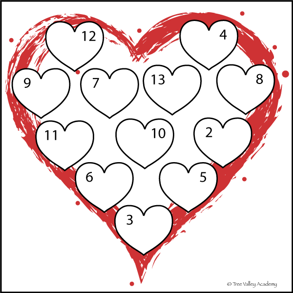 Free printable heart themed math worksheets to work on number bonds.
