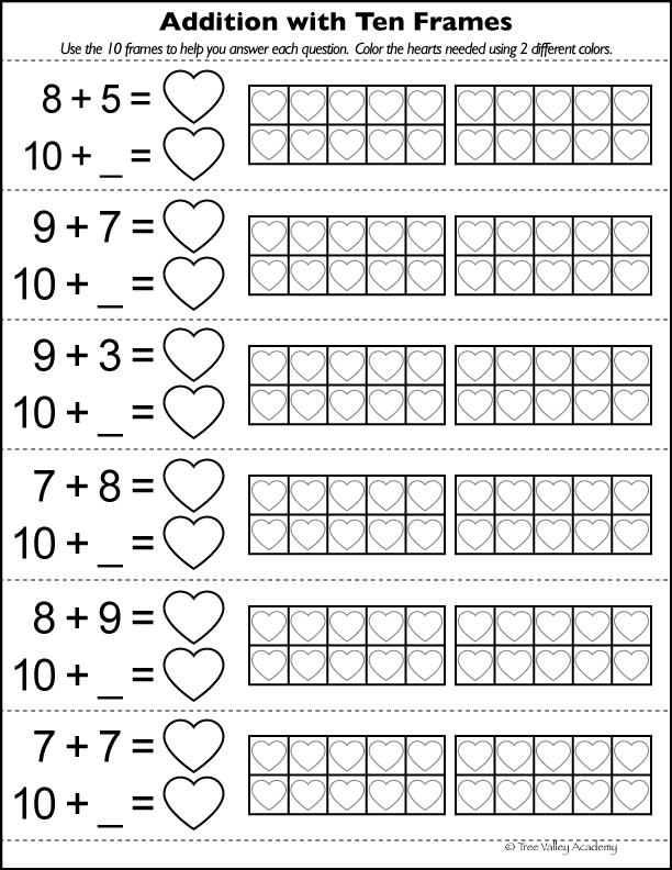 Free printable math worksheet: Adding with ten frames. The child can color the hearts in the 10 frames to solve. Number bonds of 12 to 17. #freeprintables #math #tenframes