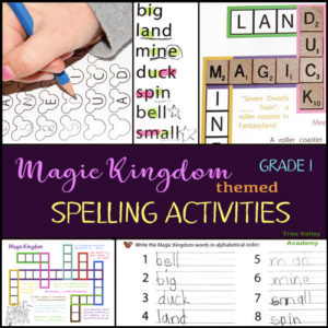 Grade 1 Magic Kingdom themed spelling activities. 4 pages of free printables including a kid-friendly crossword puzzle, a spelling game, a word study, and more. Make spelling fun with Disney themed word lists and activities.