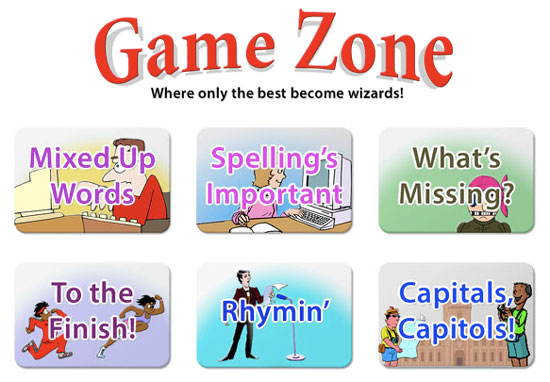 """screenshot of Game Zone in """"Bytes of Learning"""" - an online typing course"""