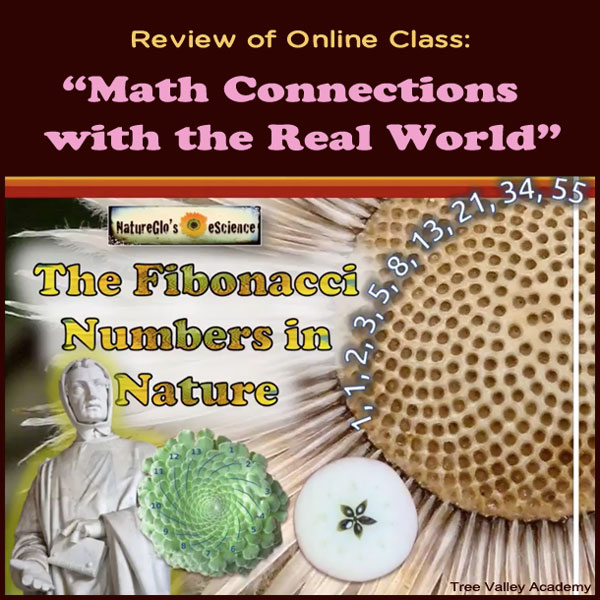"Review of Online Class: ""Math Connections with the Real World"". Explores how math like Fibonacci Numbers and the Golden Ratio is used in nature, architecture, science, literature, music, art, history, etc. #hsreviews #escience #math #natureglo"