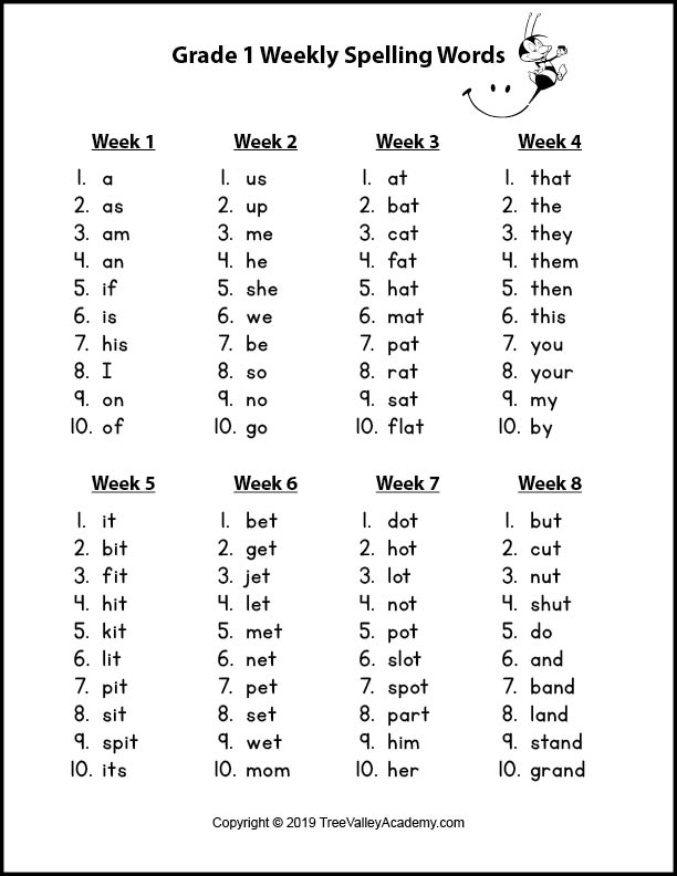 Grade 1 Spelling Words