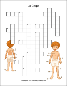 French body parts worksheet. Free printable crossword to practice the names of body parts in french. | Fiche de travail sur les parties du corps. Mots croisés gratuits.