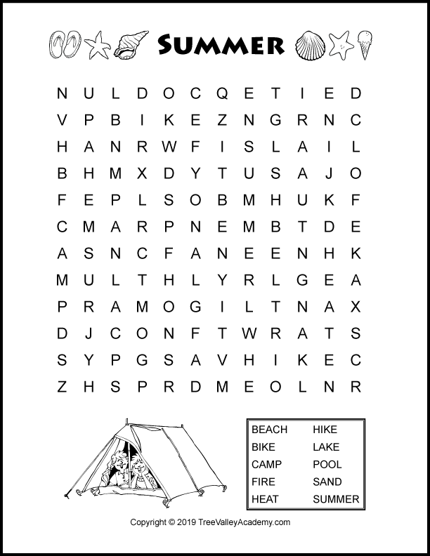 photograph regarding Free Printable Word Search for Kids known as Summer season Term Glimpse Puzzles For Young children