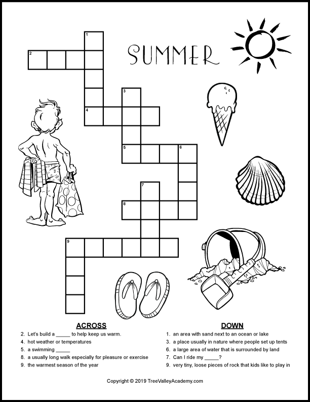 graphic regarding Crossword Puzzles for Kids Printable identified as Summer season Crossword Puzzles For Youngsters - Tree Valley Academy