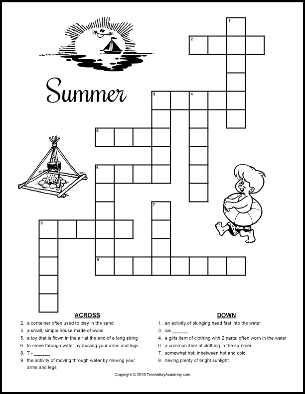 Free printable summer crossword puzzles for kids at a grade 2, 3, and 4 spelling level.