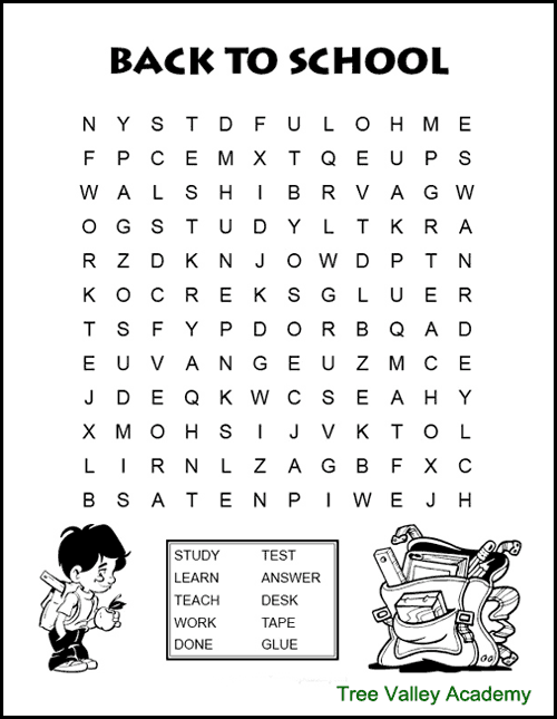 Back to school word search for kids. A fun way for kids to work on spelling of back to school themed words. These free printable word searches are for kids at a grade 2, 3 & 4 spelling level. #wordsearch #wordsearchforkids #wordsearchprintable #elementary #freeprintable #backtoschool #wordsearchanswers #wordsearchpdf #grade2 #homeschool #backtoschool elementary #backtoschoolactivities #backtoschool2ndgrade #2ndgradebacktoschool #treevalleyacademy