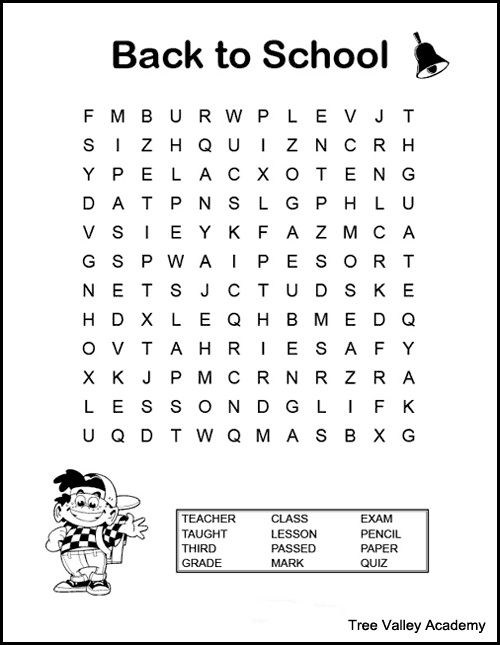 Back to school word search for kids. A fun way for kids to work on spelling of back to school themed words. There are free printable word searches for kids at a grade 2, 3 & 4 spelling level. #wordsearch #wordsearchforkids #wordsearchprintable #elementary #freeprintable #backtoschool #wordsearchanswers #wordsearchpdf #grade3 #homeschool #backtoschool elementary #backtoschoolactivities #backtoschool3rdgrade #3rdgradebacktoschool #treevalleyacademy