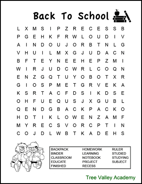 Back to school word search for kids. A fun way for kids to work on spelling of back to school themed words. These free printable word searches are for kids at a grade 2, 3 & 4 spelling level. #wordsearch #wordsearchforkids #wordsearchprintable #elementary #freeprintable #backtoschool #wordsearchanswers #wordsearchpdf #grade4 #homeschool #backtoschool elementary #backtoschoolactivities #backtoschool4thgrade #4thgradebacktoschool #treevalleyacademy