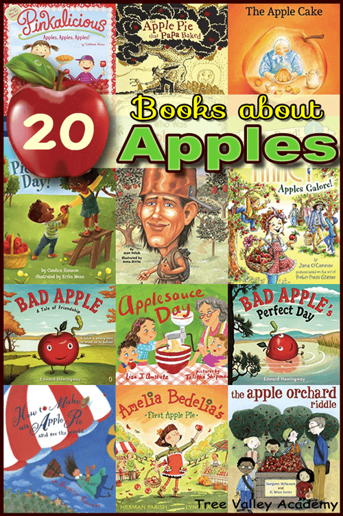 20 children's books about apples. Includes books about apple picking; books about apple pie; books about applesauce; books about Johnny Appleseed; and non-fiction apple books. #appletheme #elementary #apples #applebooks #treevalleyacademy