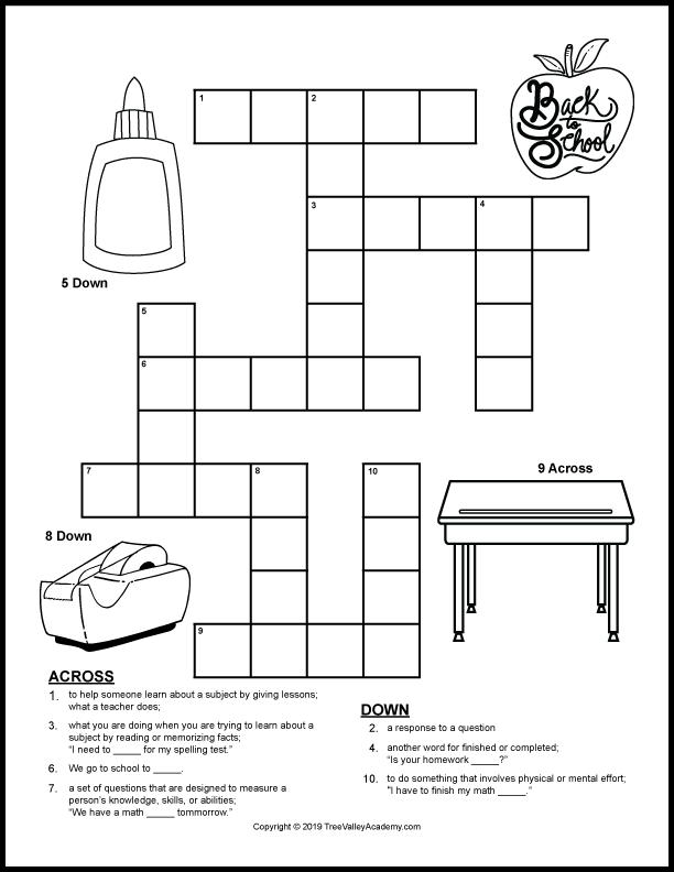 Free printable back to school crossword puzzle for kids.  Fun way for kids to work on vocabulary and spelling of back to school themed words at a grade 2 spelling level.