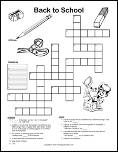 Back to school crossword puzzles for kids are a fun way for kids to work on vocabulary and spelling of back to school themed words. Free printable crossword puzzles for kids at a grade 2, 3 & 4 spelling level. #backtoschool #crosswordpuzzles #crossword #elementary #freeprintables #backtoschoolprintables #crosswordpuzzlesforkids #backtoschoolfreebies #grade3 #treevalleyacademy