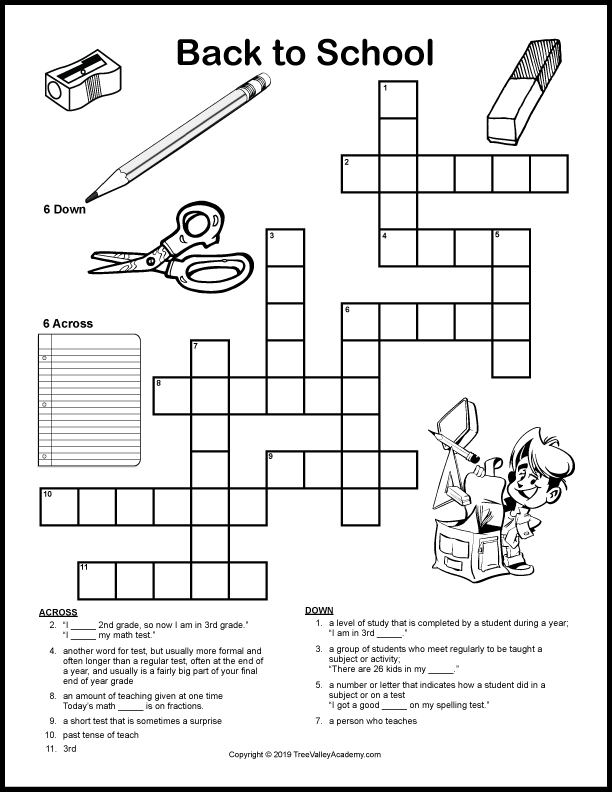 Back to school crossword puzzles for kids are a fun way for kids to work on vocabulary and spelling of back to school themed words.  Free printable crossword puzzle for kids at a grade 2, 3 & 4 spelling level.  Downloadable pdf includes answer sheet.