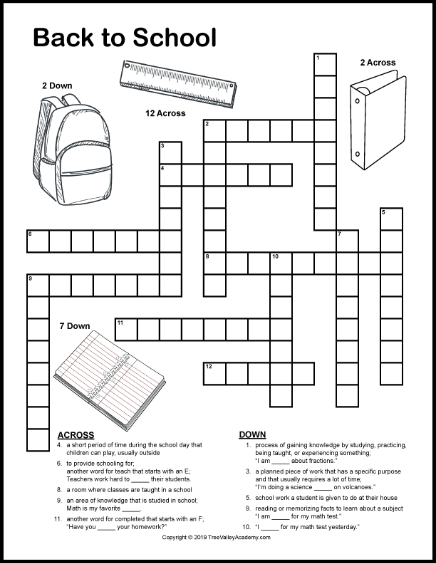 Back to school crossword puzzles for kids. A fun way for kids to work on vocabulary and spelling of back to school themed words. These free printable crossword puzzles are for kids at a grade 2, 3 & 4 spelling level.