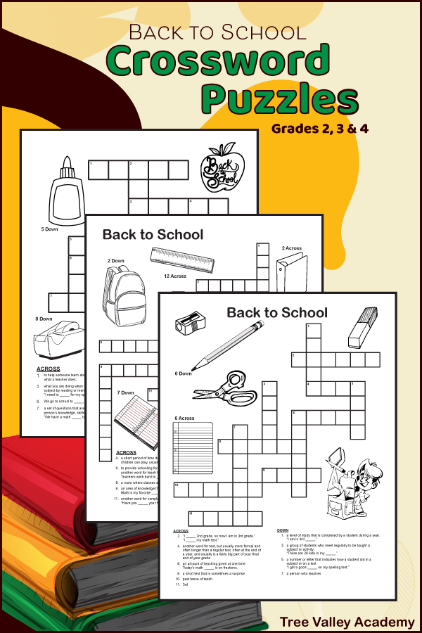 printable back to school crossword puzzles for 2nd, 3rd & 4th grade students
