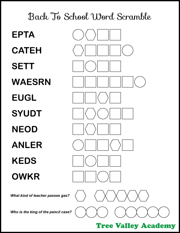 Easy back to school word scramble printable with answers. There's 10 jumbled school words for elementary aged kids to unscramble.  The words are between 4 and 6 letters long and are 2nd grade spelling words.  When all the words are unscrambled, the letters in circles and hexagons will reveal a mystery message. The message is the answer to two back to school jokes.